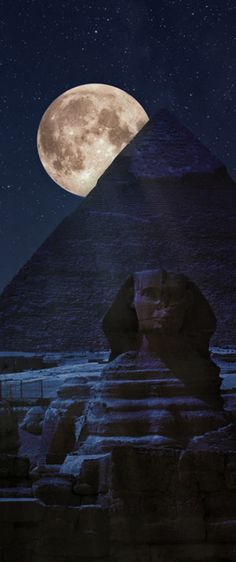 Full moon over Giza pyramid complex, Egypt
