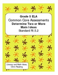 This document contains an informational text passage plus assessments in two different formats for assessing student understanding. This assessment focuses on determining two or more main ideas which is Common Core Standard RI.5.2. Choose from using the multiple choice or written response formats in this document. Or, use both! This document also contains an answer key and an assessment rubric.