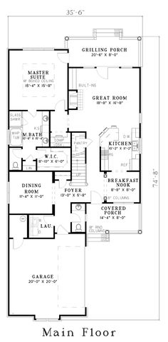 First Floor Plan of House Plan 62305 We could be put the elevator in the coat closet next the stairs.