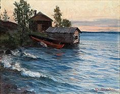 Elin Kleopatra Danielson-Gambogi (Finnish painter, 1861-1919) Summer Evening in the Archipelago