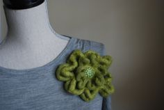 Green Crocheted Felted Organic Merino Wool And Mohair Flower Pin With Vintage Button  525