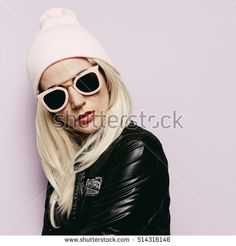 Pretty Blonde in fashionable Hat beanie and pink Glasses Vanilla vibration Swag