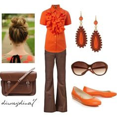 """""""Orange and Brown"""" - don't like the ruffles on that shirt though!"""