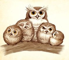 Lady Owl with her ladies in waiting.