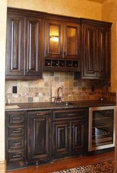 Cabinets & backsplash Dining Hutch, Dining Room Bar, Kitchen Pantry Cabinets, Bar Cabinets, Kitchen Backsplash, Basement Layout, Basement Ideas, Basement Kitchenette, New Kitchen