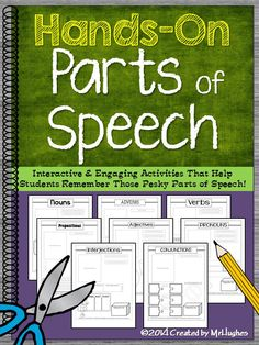 Looking for a fun and interactive way to teach Parts of Speech? HANDS-ON Parts of Speech! This set of activities will have your students understanding the basic parts of speech in no time. With the detail. Grammar Activities, Teaching Grammar, Teaching Writing, Writing Activities, Teaching English, Teaching Resources, Teaching Ideas, Writing Strategies, Speech Activities