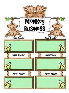 Monkey Theme Classroom Jobs Poster set