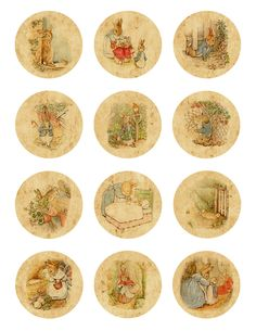 Vintage Peter Rabbit Cupcake Toppers
