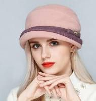 Elegant fleece bucket hat with bow for women autumn warm wool hats