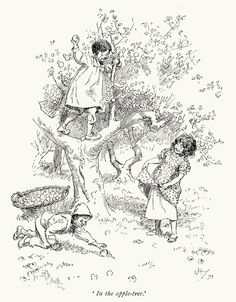 In the apple-tree.  Hugh Thomson, from Our village, by Mary Russell Mitford, London, New York, 1893.