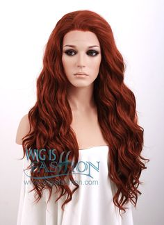 "24"" Long Curly Wavy Light Reddish Brown Heat Resistant Lace Front Synthetic Wig"