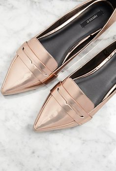 Pointed Faux Leather Loafers | Forever 21