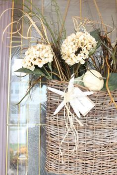 Instead of an Autumn Wreath, Try This Basket - Beach House DecoratingBeach House Decorating