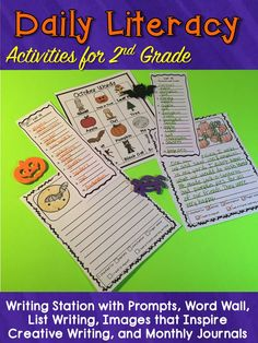 I love using these 2nd grade daily literacy activities. The writing station is always a favorite with my students! They are excited for the writing prompts, creative writing, and monthly journals every month. Word work, and graphic organizers for read to self and listening centers are also included. #2ndgrade #writingstation #dailyfive #daily5 #dailyliteracy #2ndgradespelling #2ndgradewriting All About Me Activities, Word Work Activities, Literacy Activities, Literacy Centers, 2nd Grade Spelling, 3rd Grade Writing, Writing Prompts For Writers, Picture Writing Prompts, Writing Ideas