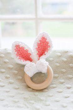 Crochet bunny ears wooden teether   www.1dogwoof.com