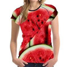 9c4f64e49d1edc Summer T Shirt Ladies Watermelon Fruit