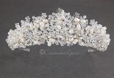Ivory Pearl and Crystal Wedding Crown - Cassandra Lynne Crystal Beads, Crystals, Wedding Tiaras, Ivory Pearl, Bridal Tiara, Wedding Hair Pieces, Crystal Wedding, Bridal Accessories, Bridal Style