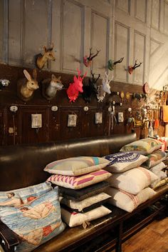 Hook & antler wall at Loopy Mango. A grouping Loopy Mango, Faux Taxidermy, Knitting Kits, Animal Heads, Some Ideas, Antlers, Antique Furniture, Home Furnishings, Decor Styles
