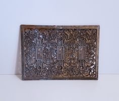 Vintage 3 Light Switch Cover Platet, Switch Plate, Floral, Filigree by on Etsy Retro Vintage, Vintage Items, Metal Casting, Switch Plates, Light Switch Covers, Recycled Materials, Victorian Era, Filigree, Floral Design