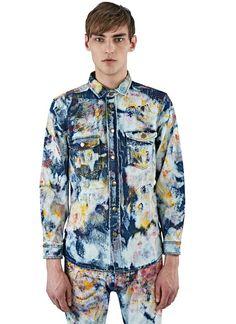 Men's Shirts - Clothing | Discover Now LN-CC - Tie-Dye Painted Denim Shirt