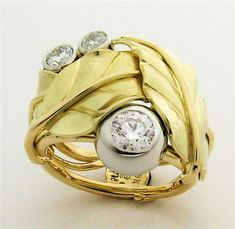 Handmade Leaf Canadian Diamond Wedding Ring Recycled 18k Gold Platinum