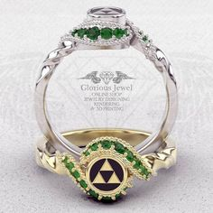 Glorious legend of Zelda inspired ring with Natural Emerald