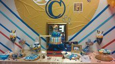 Royal Prince themed baby shower.  #DelectableDelights #cake #cookies #cakepops #blue #red #gold #boy