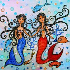 Mermaid Proposal Painting.  lgtb, equal rights, equality,same-sex, same,sex,gay,equal,rights, i do, wedding,partner, couple, love,lover,sale,folk art, prisarts, fish,crab, rainbow,colors,lesbian,bubbles,under the sea, secret,seascape,lesbian,him,her,me,love,he doesn't love you like i love you,popular,sweet,loves,taboo,equal rights,woman love, girl love,ring,proposal,prisarts,pristine,cartera,turkus,friends,closet,queen,closet queen