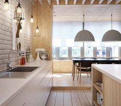 kitchen without wall cabinets - Google Search