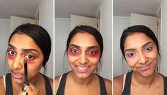 Vlogger Deepica Mutyala found the solution to dark under eye circles: orangey-red lipstick.