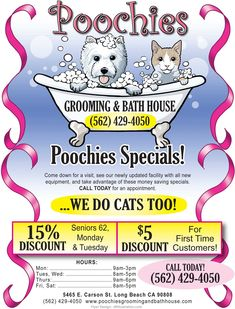 -Repinned- Grand Opening pet groomers Flyers | Grooming and Bath House in Long Beach California.