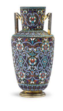 A Russian Gilded Silver and Cloisonné Enamel Vase, Gustav Klingert, Moscow, 1891