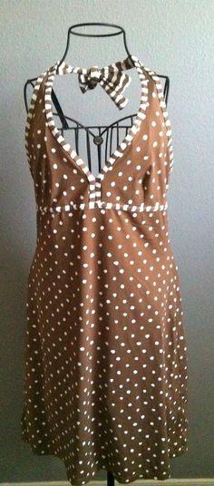 TOMMY BAHAMA Halter Spa Dress Swimsuit Cover-up Brown White Polka Dot Medium M #TommyBahama #Sundress #SummerBeach