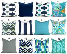 Outdoor Pillow Covers ANY SIZE You Choose Outdoor Decorative Pillow Cover Blue Pillow Green Pillows Ikat Pillow Chevron Pillow by MyPillowStudio on Etsy