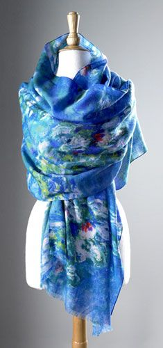 Monet Water Lilies Shawl, Scarves, Apparel & Accessories - The Museum Shop of The Art Institute of Chicago