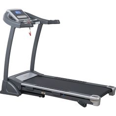 Keep in shape with this Sunny Health and Fitness motorized treadmill in your home. Folding and unfolding is quick and easy thanks to a folding system and a soft drop feature. Numerous built-in program