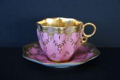 Coalport Miniature Jeweled Cup & Saucer