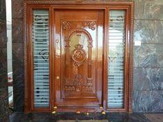 Teak Wood Main Door Design Entrance Indian Ideas For 2019 Wooden Front Door Design, Front Gate Design, Double Door Design, Wooden Front Doors, Wood Doors, House Main Door Design, Home Door Design, Pooja Room Door Design, Indian Main Door Designs