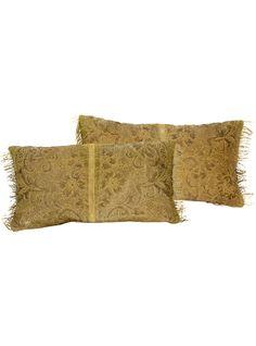 19th Century Gold Metallic Brocade Face Pillows