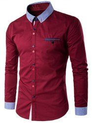Color Block Spliced Turn-Down Collar Long Sleeve Pocket Button-Down Shirt For Men in Red With Black | Sammydress.com Mobile