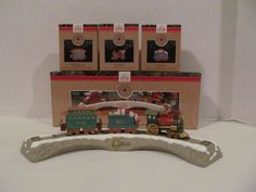 Christmas Train Set - all 4 pieces included for this one price! Hallmark Track and Train Cars by CellarDeals on Etsy