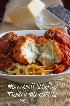 Mozzerella Stuffed Turkey Meatballs-used less bread crumbs and less parmesan for less carb and sodium. Still very tasty