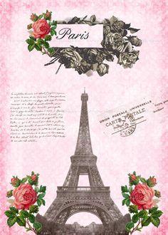 Vintage Pink Paris Eiffel Tower 5x7 inch Printable por katypixels, $3.50