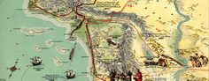 """Gerald Eddy's """"Important historical events which have made Los Angeles' growth possible"""" (1929) — http://www.bigmapblog.com/2012/eddys-gorgeous-history-of-los-angeles-map-1929/ — #LA 