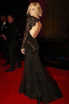 Samara Weaving Sheer Black Open Back Long Sleeve Evening Dress Logie Awards