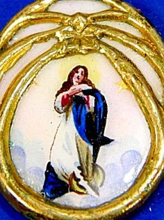 $119 Antique Czech HandPainted Porcelain Pendant Virgin Mary Assumption (Image1)Gilt Czech pendant medal featuring the Blessed Mother Virgin Mary / The Assumption painted on porcelain. Gold plated gilt casing, Writing on back: Holy Mary Mother of God Pray For Us in Czech writing