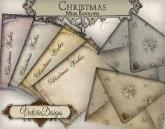 Mini Christmas Envelopes Printable Christmas by VectoriaDesigns, $3.65