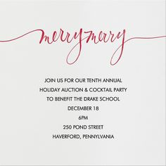 Merry Merry by Linda and Harriett for Paperless Post. Send custom online holiday party invitations with our easy-to-use design tools and RSVP tracking. View more holiday invitations on paperlesspost.com.  #calligraphy #christmas #contemporary #festive #merry
