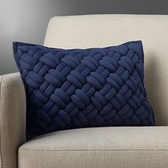 """Shop jersey interknit navy 18""""x12"""" pillow.   A new way to lounge with your favorite sweatshirt.  Cushy cross-hatched stripes square up a tactile design in super-soft navy cotton jersey.  Built with intricate construction for major squoosh factor."""