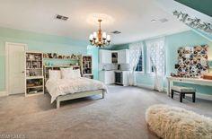 Aqua turquoise tiffany blue teen bedroom.  Luxury Estate Home with Acerage in Urban Golden Gate Estates   Naples, Florida